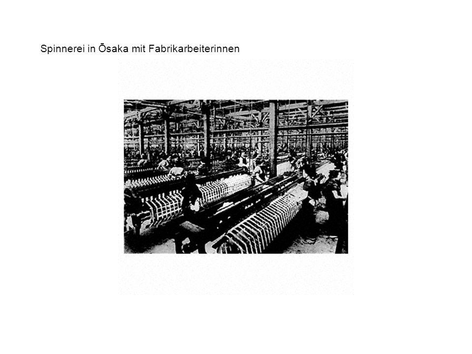 Spinnerei in Ōsaka mit Fabrikarbeiterinnen