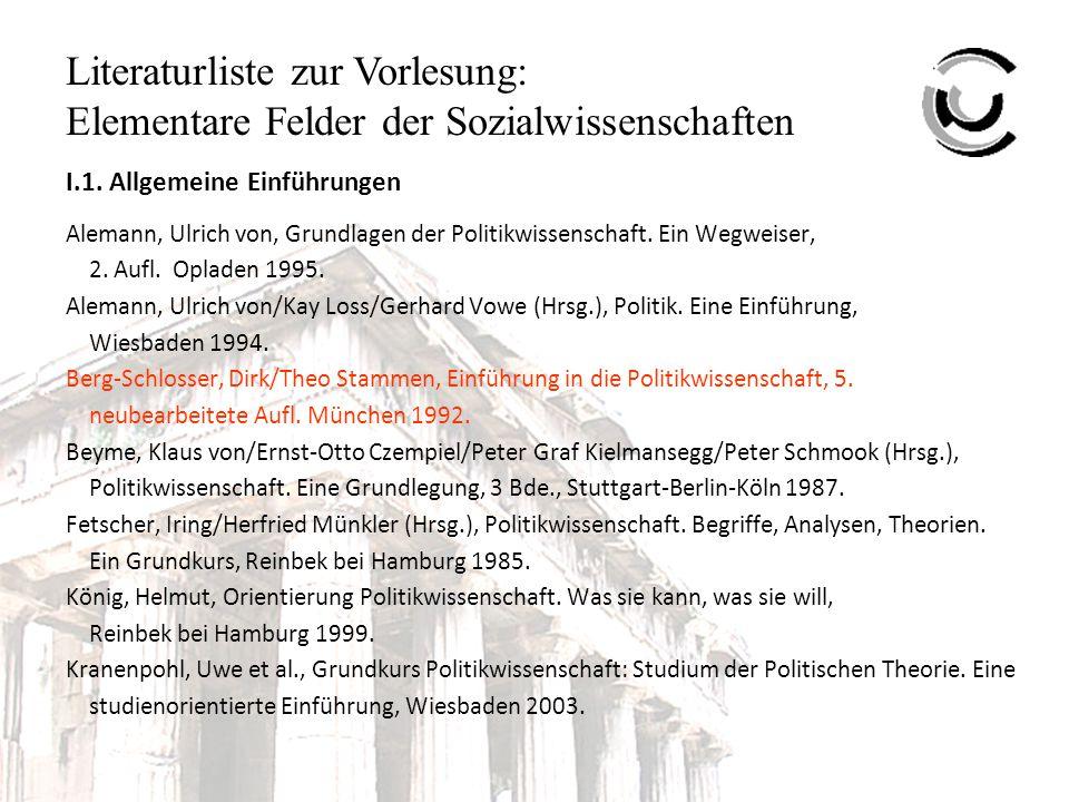 Literaturliste zur Vorlesung: Elementare Felder der Sozialwissenschaften Kranenpohl, Uwe/Manfred Schwarzmeier, Grundkurs Politikwissenschaft: Studium der Internationalen Politik.
