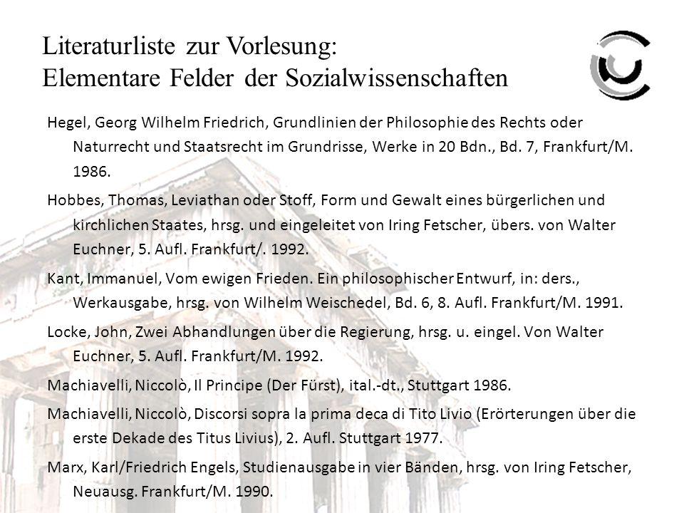 Literaturliste zur Vorlesung: Elementare Felder der Sozialwissenschaften Hegel, Georg Wilhelm Friedrich, Grundlinien der Philosophie des Rechts oder Naturrecht und Staatsrecht im Grundrisse, Werke in 20 Bdn., Bd.