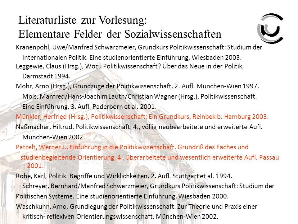 Literaturliste zur Vorlesung: Elementare Felder der Sozialwissenschaften I.2.