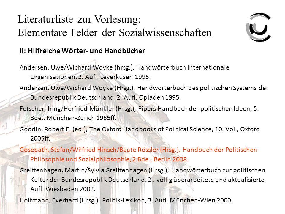 Literaturliste zur Vorlesung: Elementare Felder der Sozialwissenschaften II: Hilfreiche Wörter- und Handbücher Andersen, Uwe/Wichard Woyke (hrsg.), Handwörterbuch Internationale Organisationen, 2.
