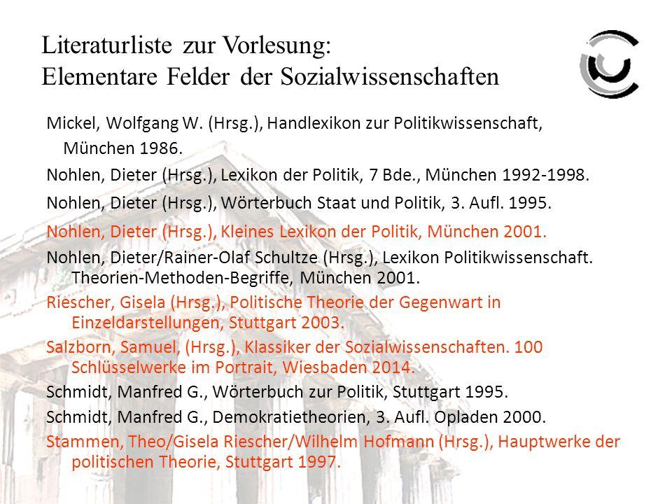 Literaturliste zur Vorlesung: Elementare Felder der Sozialwissenschaften Mickel, Wolfgang W.