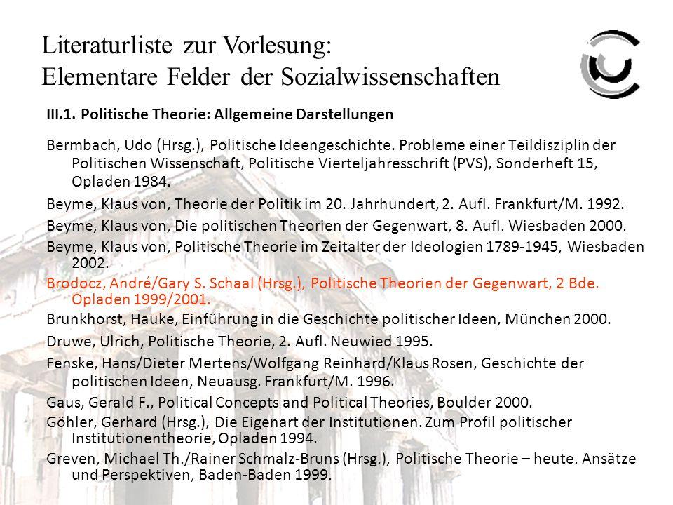 Literaturliste zur Vorlesung: Elementare Felder der Sozialwissenschaften Hartmann, Jürgen, Wozu politische Theorie.