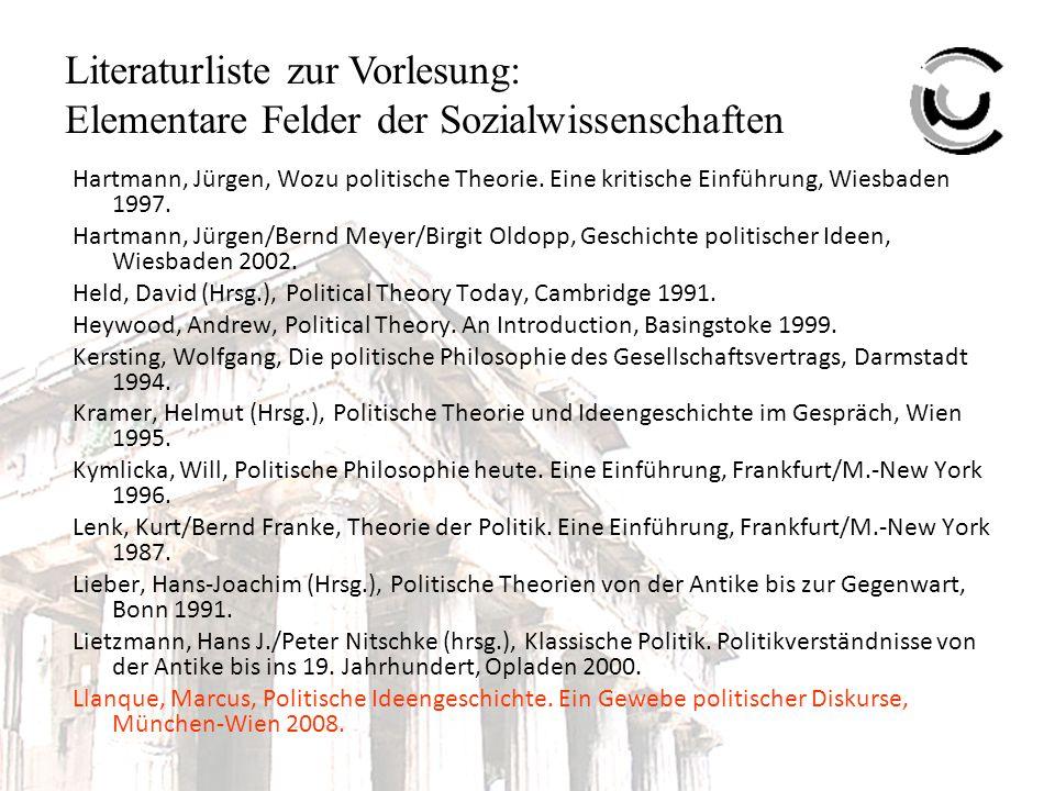 Literaturliste zur Vorlesung: Elementare Felder der Sozialwissenschaften Mahdi, M.S., Alfarabi and the Foundations of Islamic Political Philosophy, Chicago 2001.