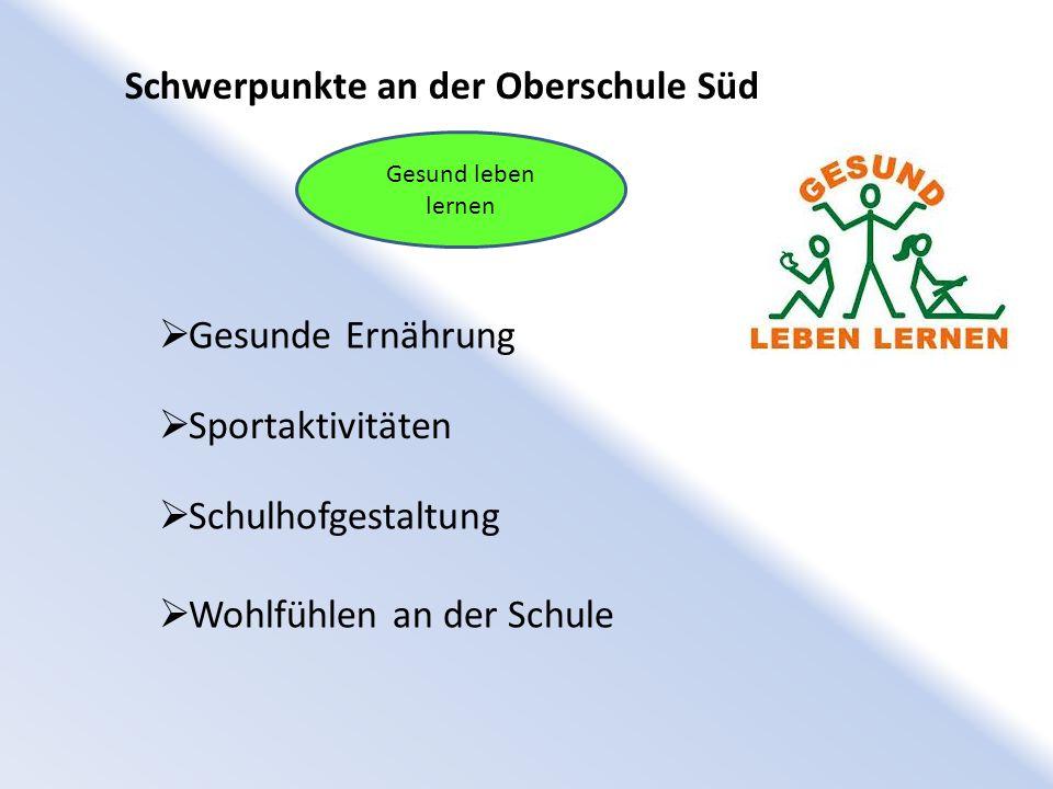 Schwerpunkte an der Oberschule Süd Gesund leben lernen  Gesunde Ernährung  Sportaktivitäten  Schulhofgestaltung  Wohlfühlen an der Schule