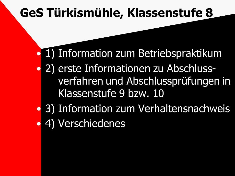 GeS Türkismühle, Klassenstufe 8 1) Information zum Betriebspraktikum 2) erste Informationen zu Abschluss- verfahren und Abschlussprüfungen in Klassens