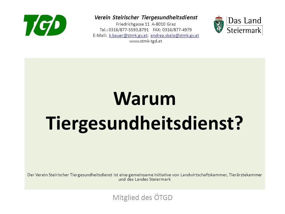 Verein Steirischer Tiergesundheitsdienst Friedrichgasse 11 A-8010 Graz Tel.: 0316/877-5593,8791 FAX: 0316/877-4979 E-Mail: k.bauer@stmk.gv.at; andrea.skala@stmk.gv.at www.stmk-tgd.atk.bauer@stmk.gv.atandrea.skala@stmk.gv.at Warum Tiergesundheitsdienst.