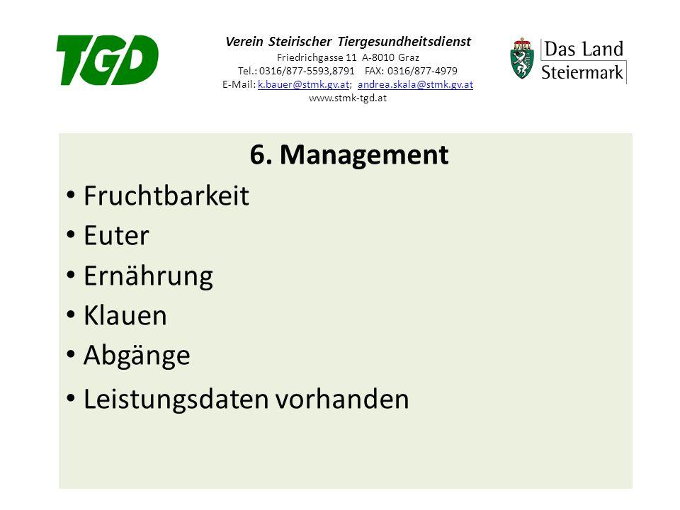 Verein Steirischer Tiergesundheitsdienst Friedrichgasse 11 A-8010 Graz Tel.: 0316/877-5593,8791 FAX: 0316/877-4979 E-Mail: k.bauer@stmk.gv.at; andrea.skala@stmk.gv.at www.stmk-tgd.atk.bauer@stmk.gv.atandrea.skala@stmk.gv.at 6.