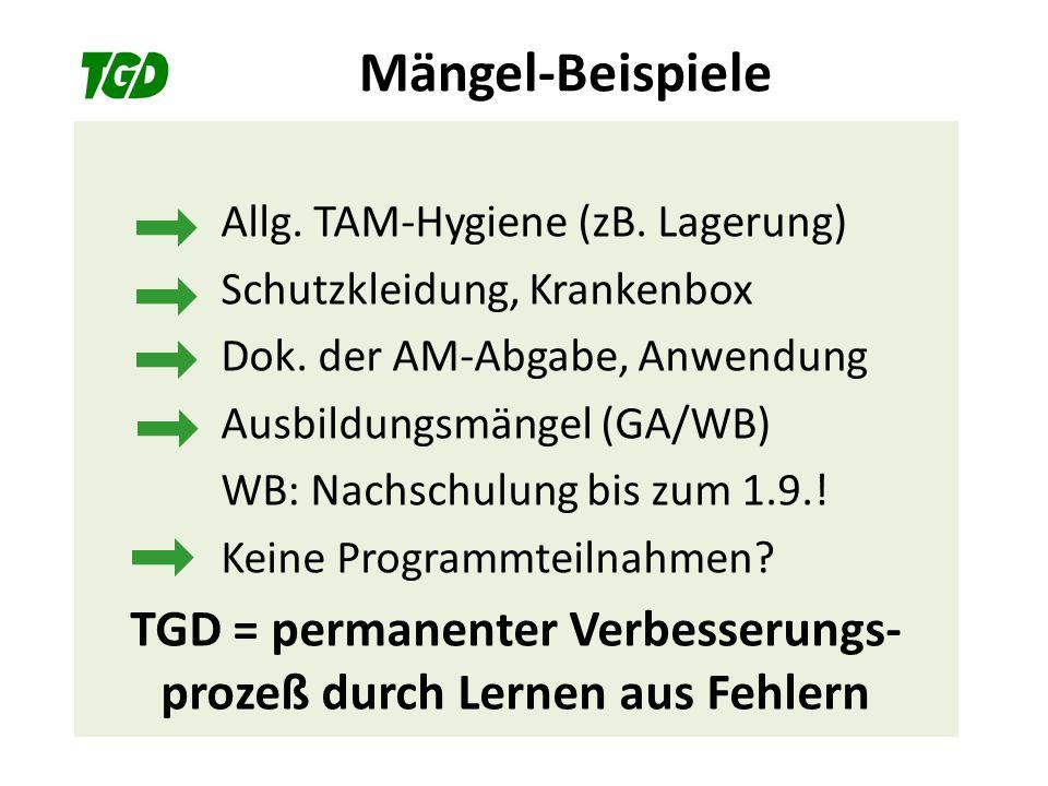 Mängel-Beispiele Allg. TAM-Hygiene (zB. Lagerung) Schutzkleidung, Krankenbox Dok. der AM-Abgabe, Anwendung Ausbildungsmängel (GA/WB) WB: Nachschulung