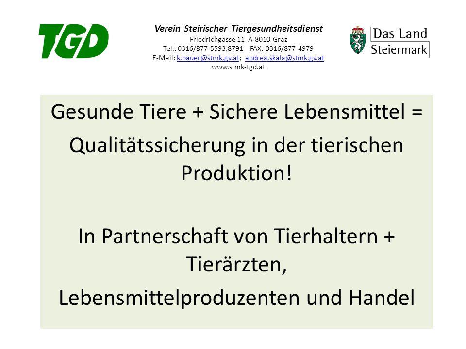 Verein Steirischer Tiergesundheitsdienst Friedrichgasse 11 A-8010 Graz Tel.: 0316/877-5593,8791 FAX: 0316/877-4979 E-Mail: k.bauer@stmk.gv.at; andrea.skala@stmk.gv.at www.stmk-tgd.atk.bauer@stmk.gv.atandrea.skala@stmk.gv.at Gesunde Tiere + Sichere Lebensmittel = Qualitätssicherung in der tierischen Produktion.