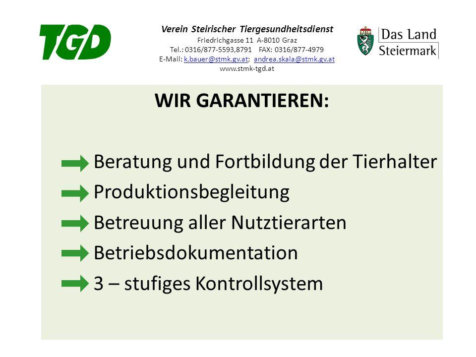 Verein Steirischer Tiergesundheitsdienst Friedrichgasse 11 A-8010 Graz Tel.: 0316/877-5593,8791 FAX: 0316/877-4979 E-Mail: k.bauer@stmk.gv.at; andrea.skala@stmk.gv.at www.stmk-tgd.atk.bauer@stmk.gv.atandrea.skala@stmk.gv.at WIR GARANTIEREN: Beratung und Fortbildung der Tierhalter Produktionsbegleitung Betreuung aller Nutztierarten Betriebsdokumentation 3 – stufiges Kontrollsystem