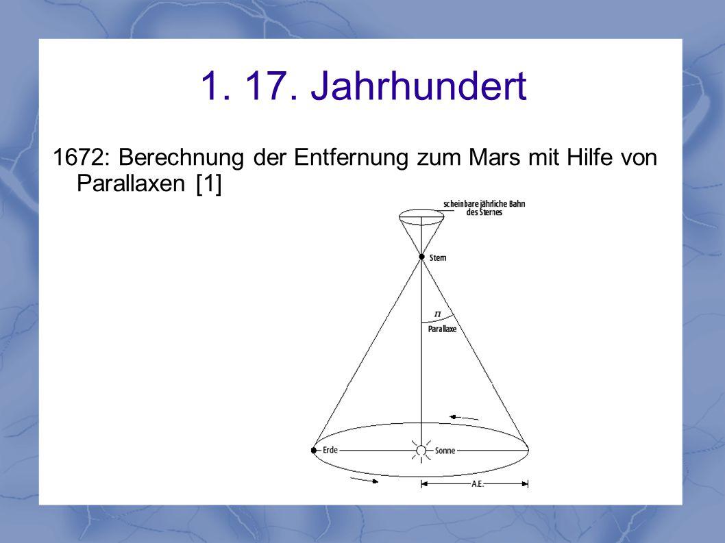 1. 17. Jahrhundert 1672: Berechnung der Entfernung zum Mars mit Hilfe von Parallaxen [1]
