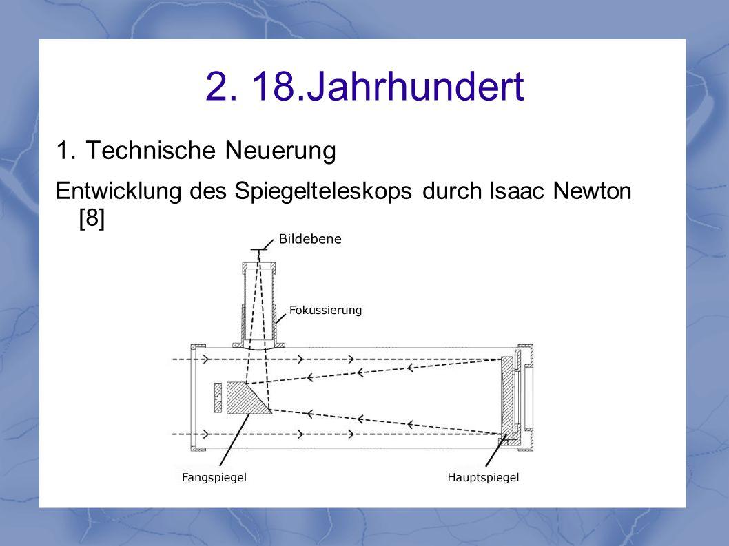 2. 18.Jahrhundert 1. Technische Neuerung Entwicklung des Spiegelteleskops durch Isaac Newton [8]
