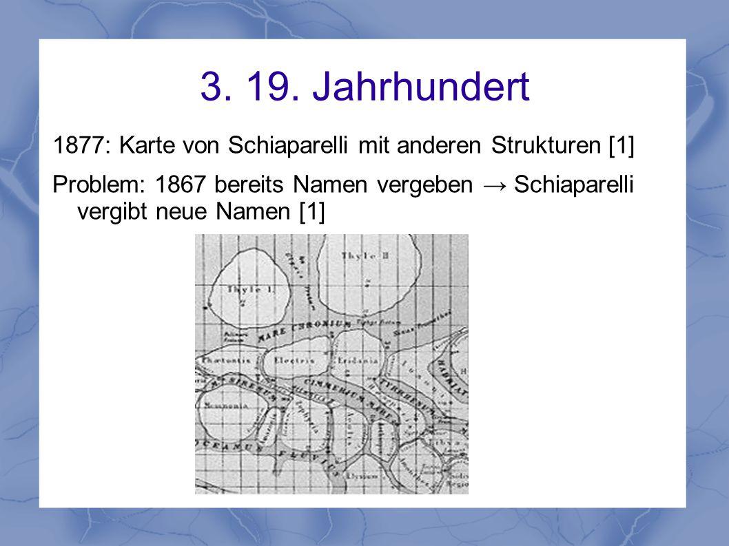 3. 19. Jahrhundert 1877: Karte von Schiaparelli mit anderen Strukturen [1] Problem: 1867 bereits Namen vergeben → Schiaparelli vergibt neue Namen [1]