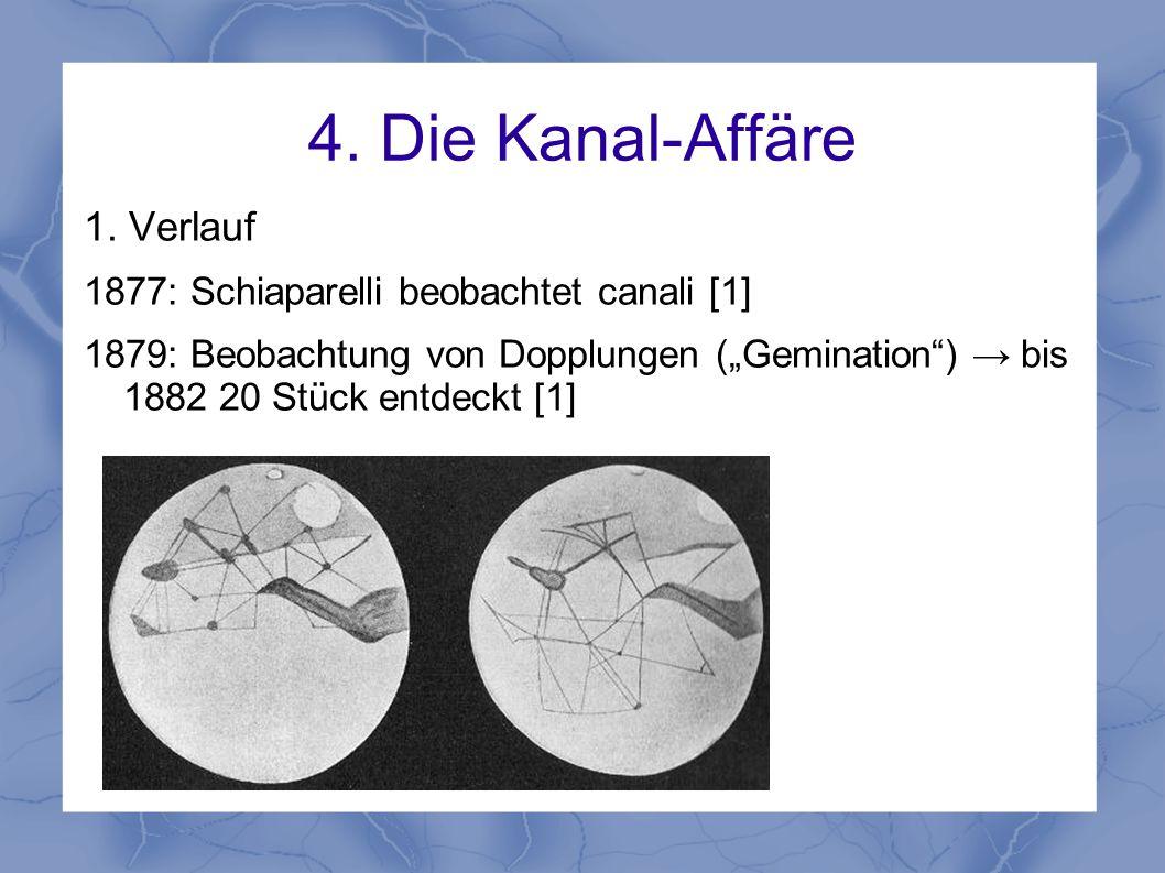 """4. Die Kanal-Affäre 1. Verlauf 1877: Schiaparelli beobachtet canali [1] 1879: Beobachtung von Dopplungen (""""Gemination"""") → bis 1882 20 Stück entdeckt ["""