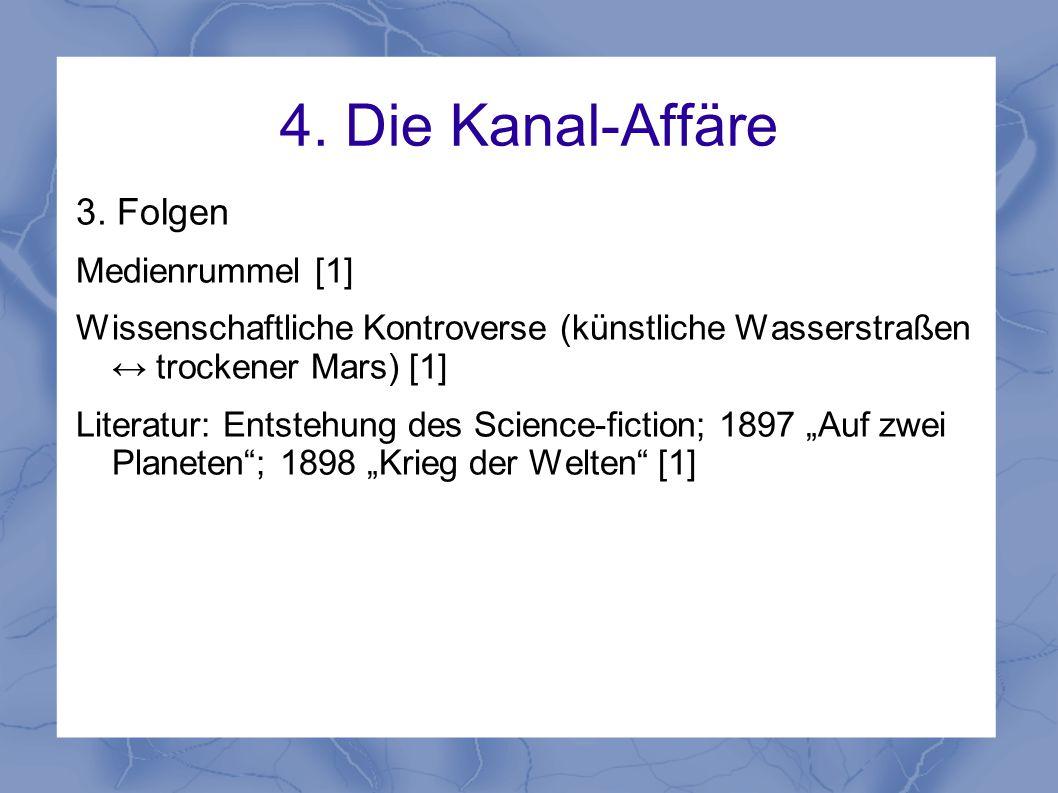 4. Die Kanal-Affäre 3. Folgen Medienrummel [1] Wissenschaftliche Kontroverse (künstliche Wasserstraßen ↔ trockener Mars) [1] Literatur: Entstehung des