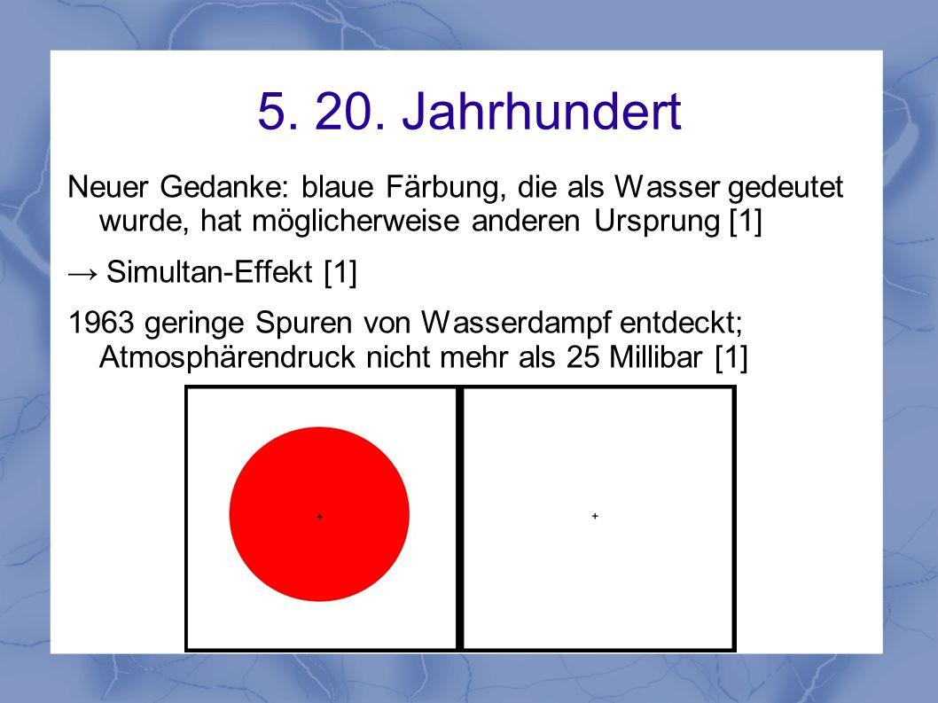 5. 20. Jahrhundert Neuer Gedanke: blaue Färbung, die als Wasser gedeutet wurde, hat möglicherweise anderen Ursprung [1] → Simultan-Effekt [1] 1963 ger