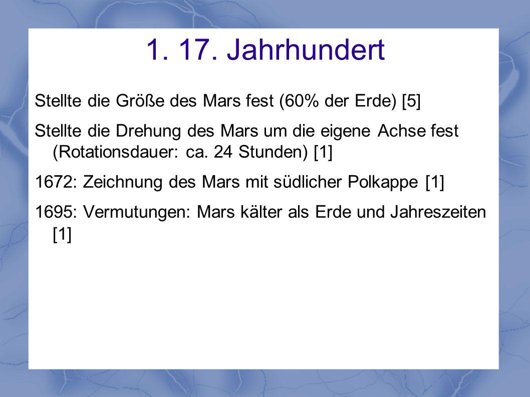 1. 17. Jahrhundert Stellte die Größe des Mars fest (60% der Erde) [5] Stellte die Drehung des Mars um die eigene Achse fest (Rotationsdauer: ca. 24 St
