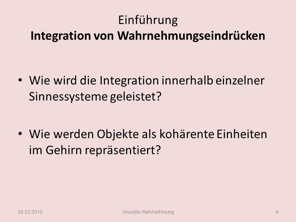 Einführung Integration von Wahrnehmungseindrücken Wie wird die Integration innerhalb einzelner Sinnessysteme geleistet? Wie werden Objekte als kohären