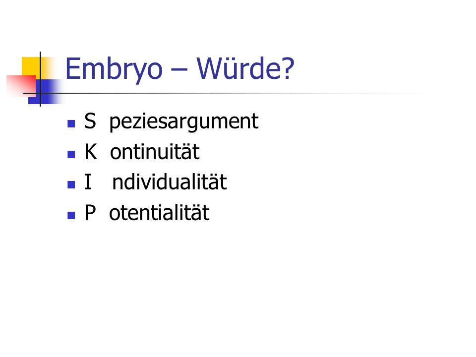 Embryo – Würde? S peziesargument K ontinuität I ndividualität P otentialität