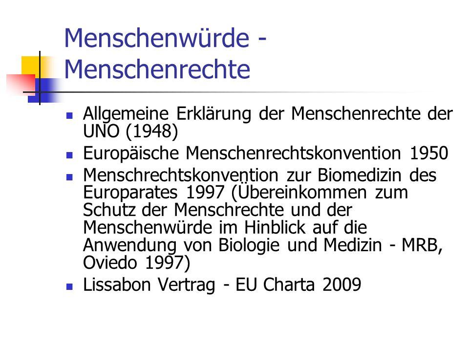 Menschenwürde - Menschenrechte Allgemeine Erklärung der Menschenrechte der UNO (1948) Europäische Menschenrechtskonvention 1950 Menschrechtskonvention