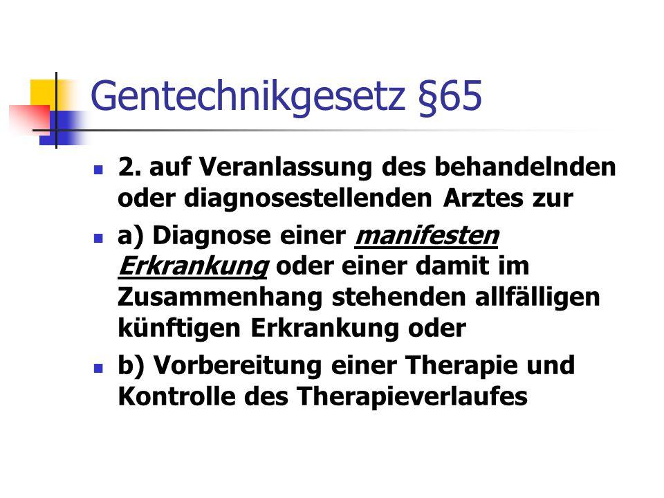 Gentechnikgesetz §65 2. auf Veranlassung des behandelnden oder diagnosestellenden Arztes zur a) Diagnose einer manifesten Erkrankung oder einer damit