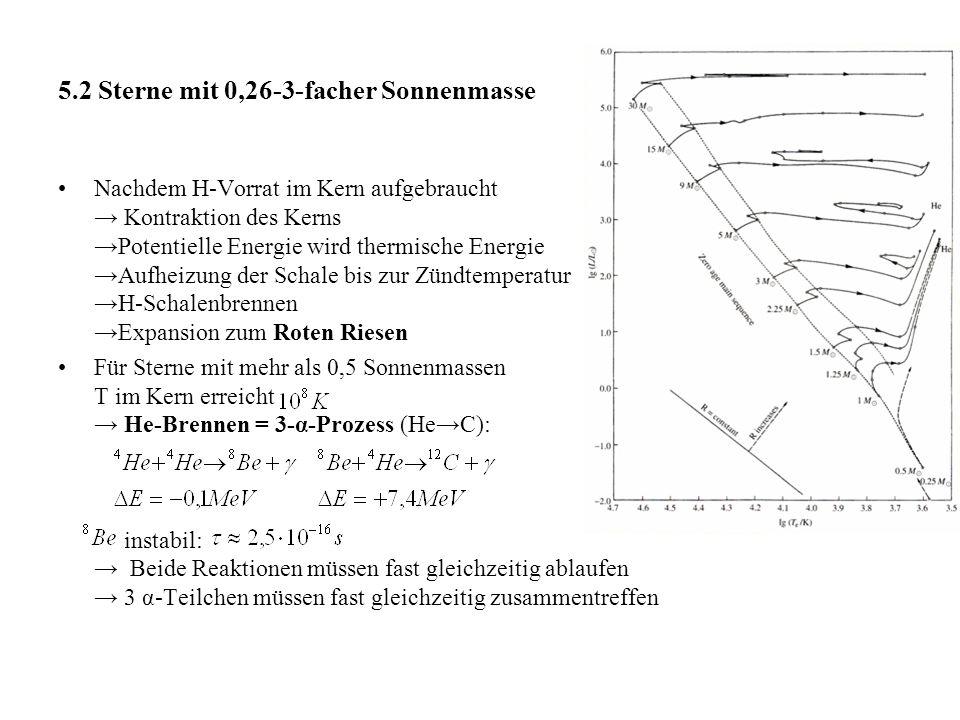 5.2 Sterne mit 0,26-3-facher Sonnenmasse Nachdem H-Vorrat im Kern aufgebraucht → Kontraktion des Kerns →Potentielle Energie wird thermische Energie →Aufheizung der Schale bis zur Zündtemperatur →H-Schalenbrennen →Expansion zum Roten Riesen Für Sterne mit mehr als 0,5 Sonnenmassen T im Kern erreicht → He-Brennen = 3-α-Prozess (He→C): instabil: → Beide Reaktionen müssen fast gleichzeitig ablaufen → 3 α-Teilchen müssen fast gleichzeitig zusammentreffen
