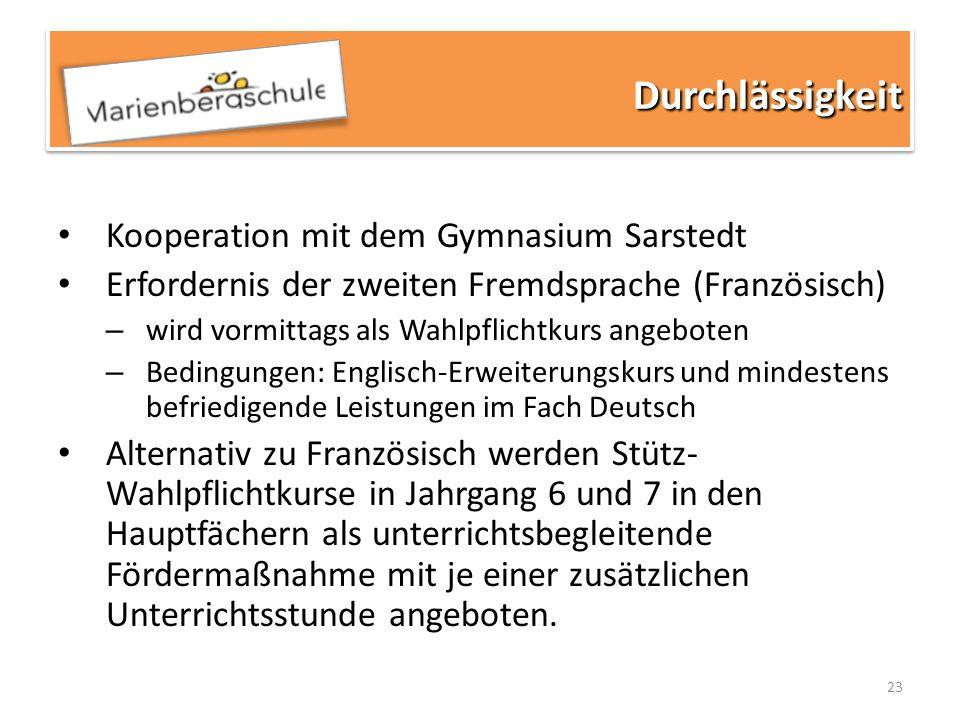 23 Kooperation mit dem Gymnasium Sarstedt Erfordernis der zweiten Fremdsprache (Französisch) – wird vormittags als Wahlpflichtkurs angeboten – Bedingu