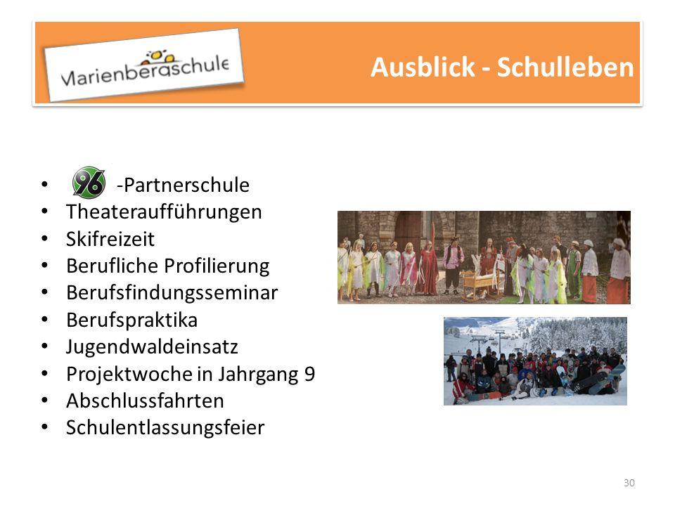 30 -Partnerschule Theateraufführungen Skifreizeit Berufliche Profilierung Berufsfindungsseminar Berufspraktika Jugendwaldeinsatz Projektwoche in Jahrg