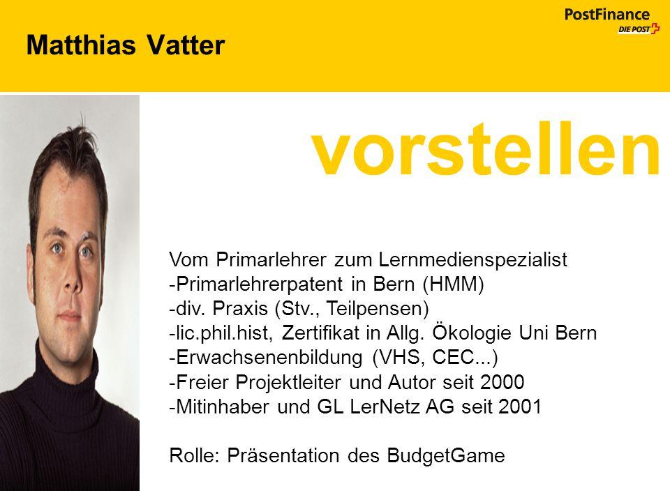 Matthias Vatter vorstellen Vom Primarlehrer zum Lernmedienspezialist -Primarlehrerpatent in Bern (HMM) -div. Praxis (Stv., Teilpensen) -lic.phil.hist,