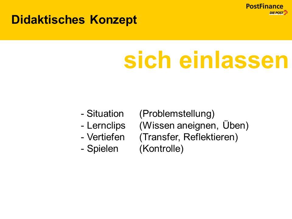 Didaktisches Konzept sich einlassen - Situation (Problemstellung) - Lernclips (Wissen aneignen, Üben) - Vertiefen (Transfer, Reflektieren) - Spielen (
