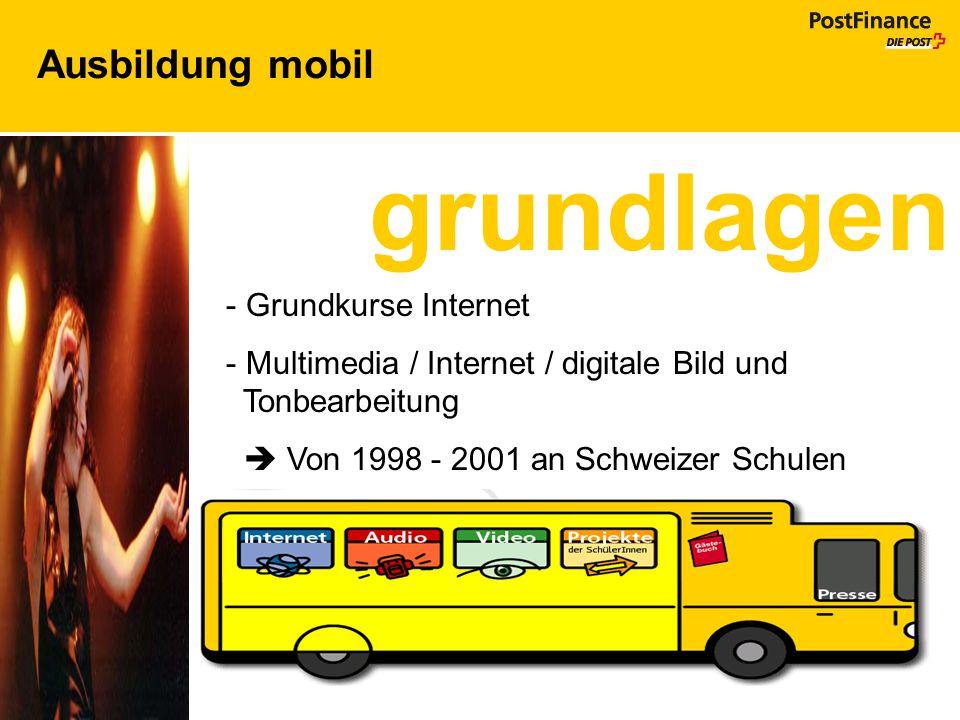 Ausbildung mobil grundlagen - Grundkurse Internet - Multimedia / Internet / digitale Bild und Tonbearbeitung  Von 1998 - 2001 an Schweizer Schulen