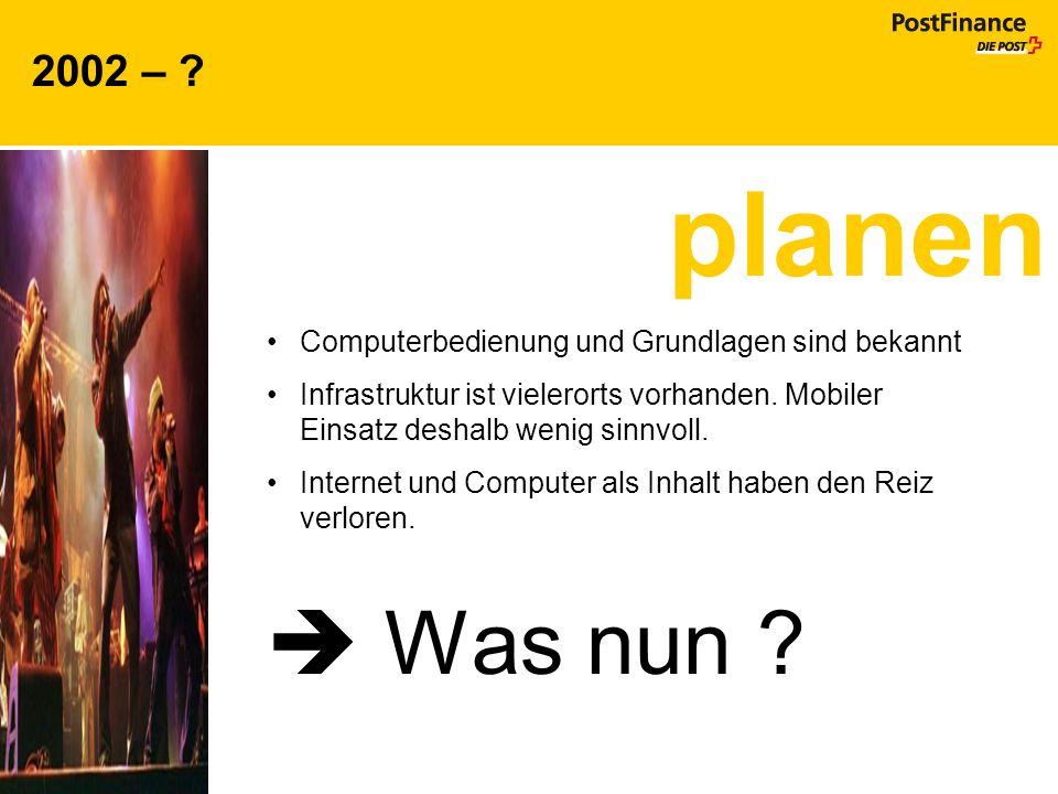 2002 – ? Computerbedienung und Grundlagen sind bekannt Infrastruktur ist vielerorts vorhanden. Mobiler Einsatz deshalb wenig sinnvoll. Internet und Co