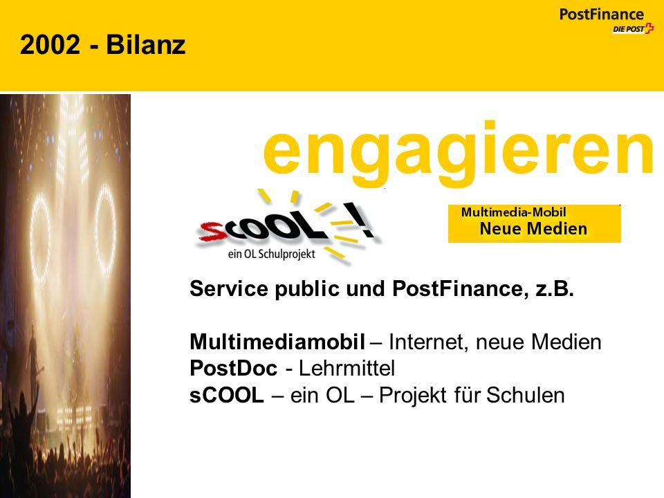 2002 - Bilanz engagieren Service public und PostFinance, z.B. Multimediamobil – Internet, neue Medien PostDoc - Lehrmittel sCOOL – ein OL – Projekt fü