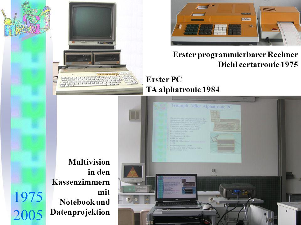 1975 2005 Erster programmierbarer Rechner Diehl certatronic 1975 Erster PC TA alphatronic 1984 Multivision in den Kassenzimmern mit Notebook und Daten