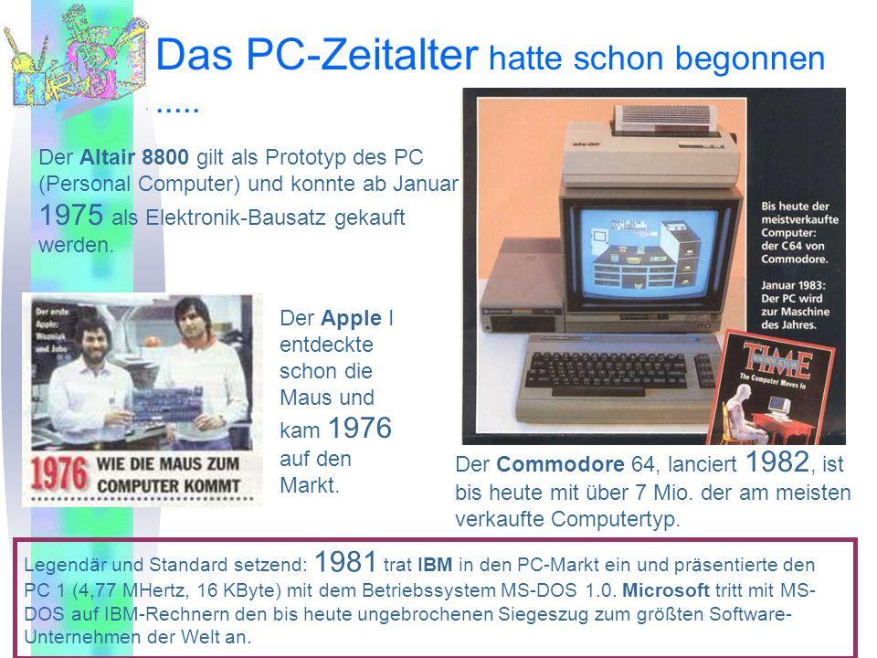 Das PC-Zeitalter hatte schon begonnen..... Der Apple I entdeckte schon die Maus und kam 1976 auf den Markt. Der Commodore 64, lanciert 1982, ist bis h