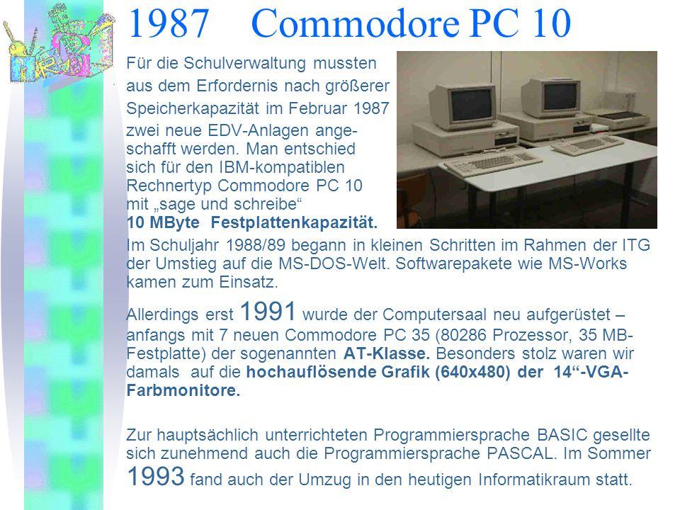 1987 Commodore PC 10 Für die Schulverwaltung mussten aus dem Erfordernis nach größerer Speicherkapazität im Februar 1987 zwei neue EDV-Anlagen ange- schafft werden.