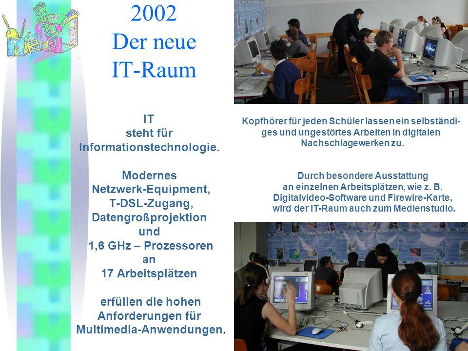 2002 Der neue IT-Raum IT steht für Informationstechnologie. Modernes Netzwerk-Equipment, T-DSL-Zugang, Datengroßprojektion und 1,6 GHz – Prozessoren a