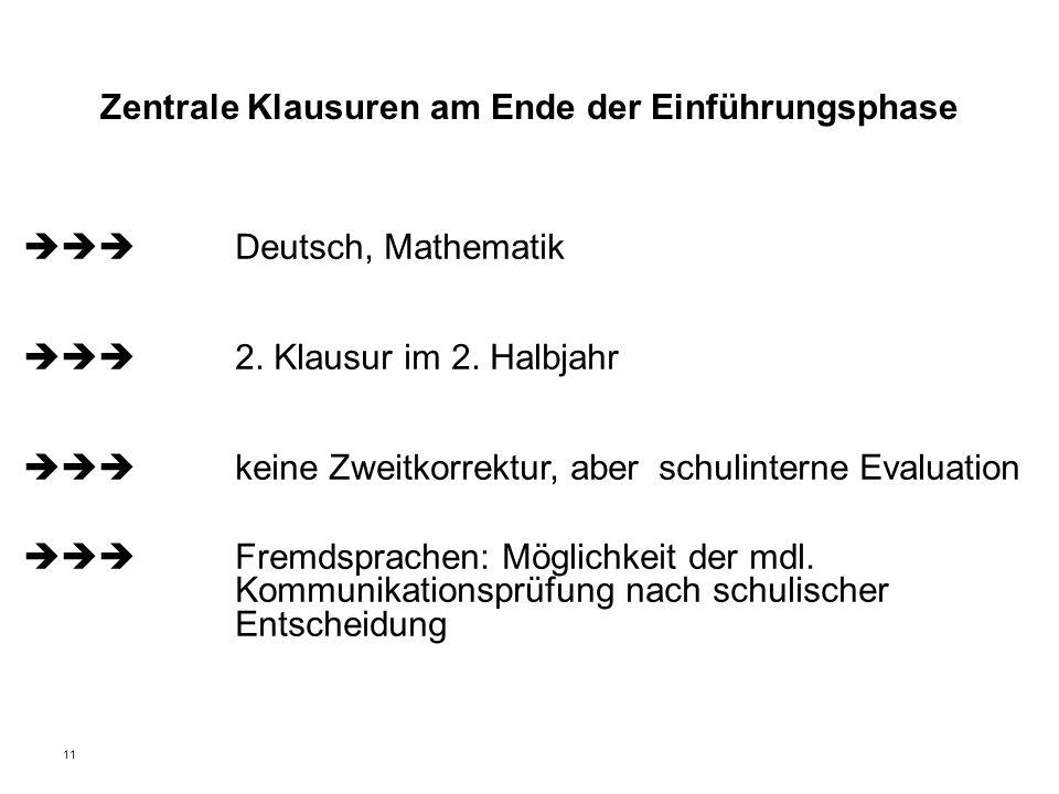 11 Zentrale Klausuren am Ende der Einführungsphase  Deutsch, Mathematik  2. Klausur im 2. Halbjahr  keine Zweitkorrektur, aberschulinterne Ev
