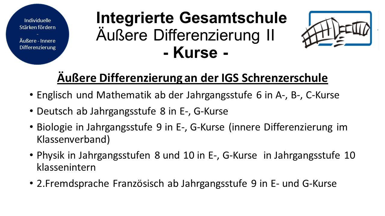 Integrierte Gesamtschule Äußere Differenzierung II - Kurse - Äußere Differenzierung an der IGS Schrenzerschule Englisch und Mathematik ab der Jahrgang
