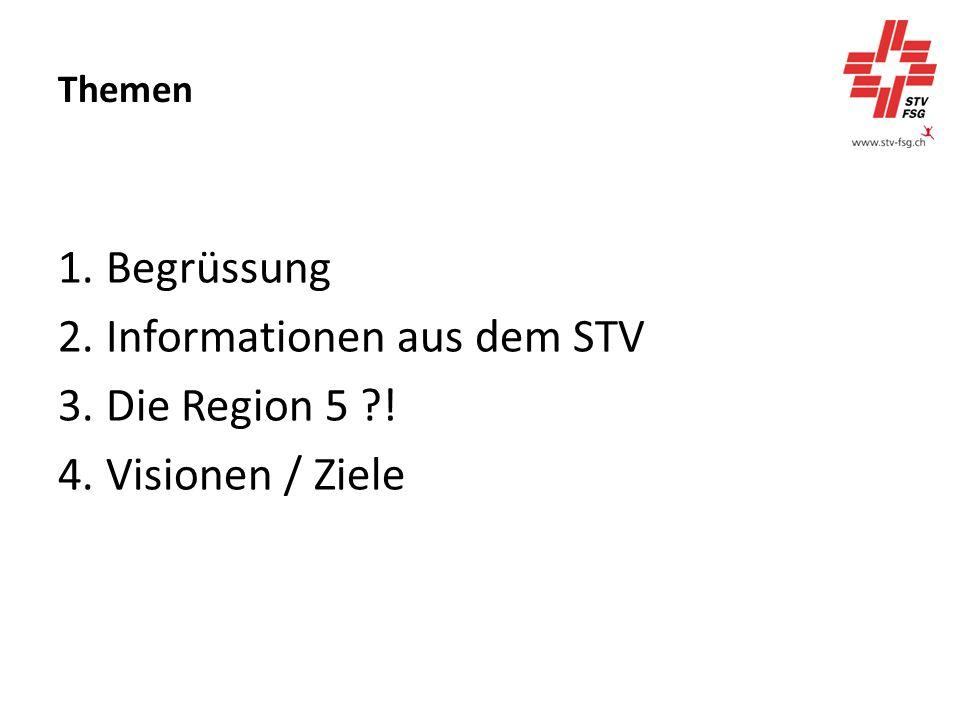 Themen 1.Begrüssung 2.Informationen aus dem STV 3.Die Region 5 ! 4.Visionen / Ziele