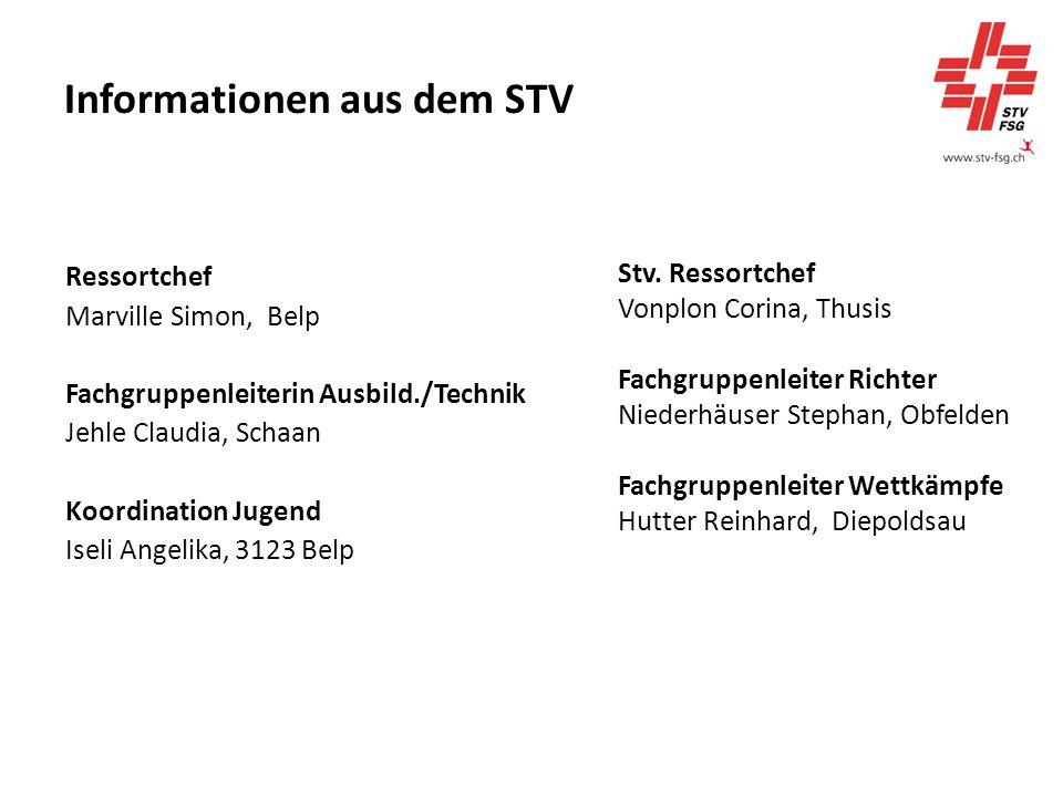 Informationen aus dem STV Ressortchef Marville Simon, Belp Fachgruppenleiterin Ausbild./Technik Jehle Claudia, Schaan Koordination Jugend Iseli Angelika, 3123 Belp Stv.