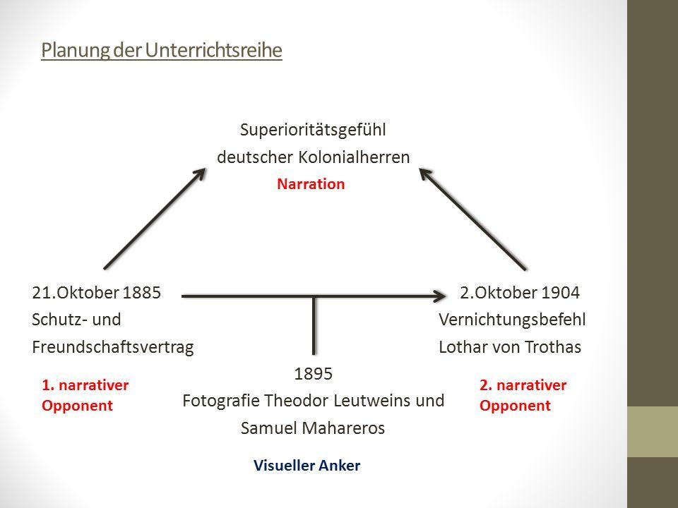 Planung der Unterrichtsreihe Superioritätsgefühl deutscher Kolonialherren 21.Oktober 1885 2.Oktober 1904 Schutz- und Vernichtungsbefehl Freundschaftsv