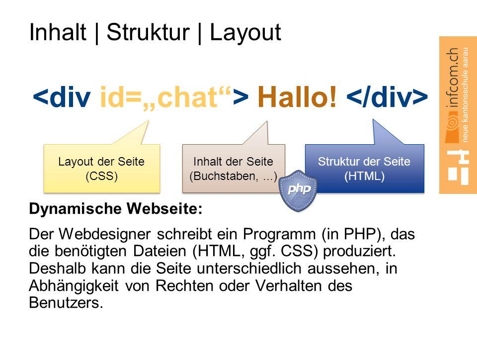 Inhalt   Struktur   Layout Hallo! Dynamische Webseite: Der Webdesigner schreibt ein Programm (in PHP), das die benötigten Dateien (HTML, ggf. CSS) pro