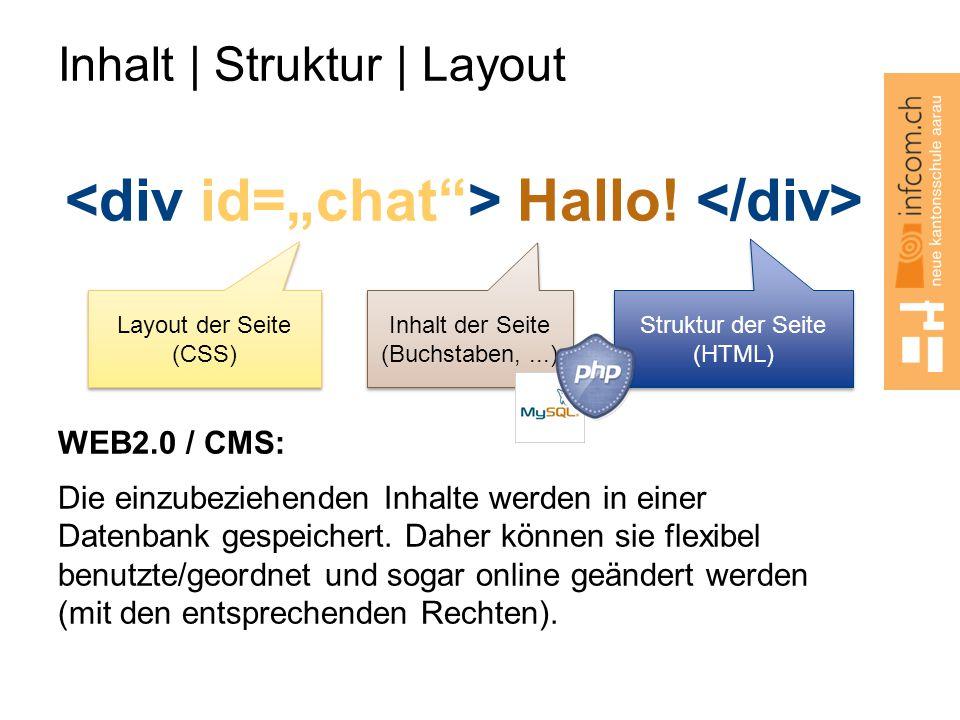 Inhalt   Struktur   Layout Hallo! WEB2.0 / CMS: Die einzubeziehenden Inhalte werden in einer Datenbank gespeichert. Daher können sie flexibel benutzte