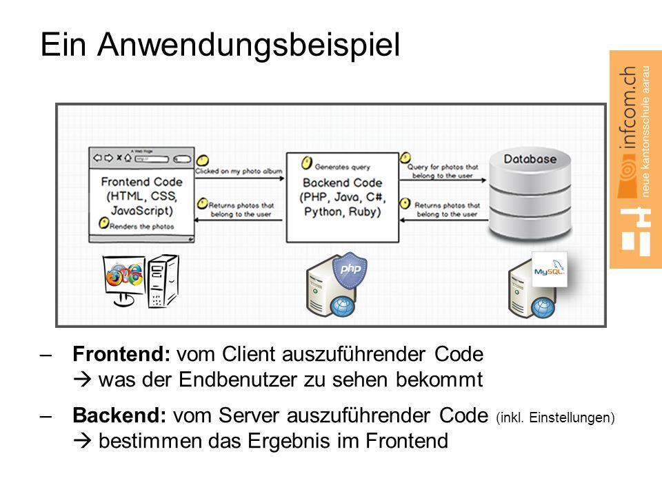 Ein Anwendungsbeispiel –Frontend: vom Client auszuführender Code  was der Endbenutzer zu sehen bekommt –Backend: vom Server auszuführender Code (inkl.