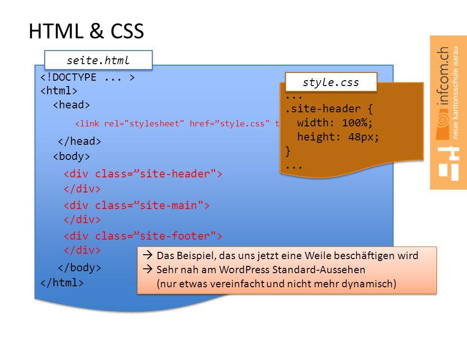 HTML & CSS seite.html  Das Beispiel, das uns jetzt eine Weile beschäftigen wird  Sehr nah am WordPress Standard-Aussehen (nur etwas vereinfacht und