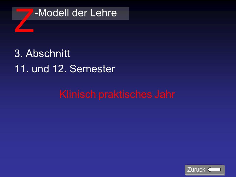 3. Abschnitt 11. und 12. Semester -Modell der Lehre Z Klinisch praktisches Jahr Zurück