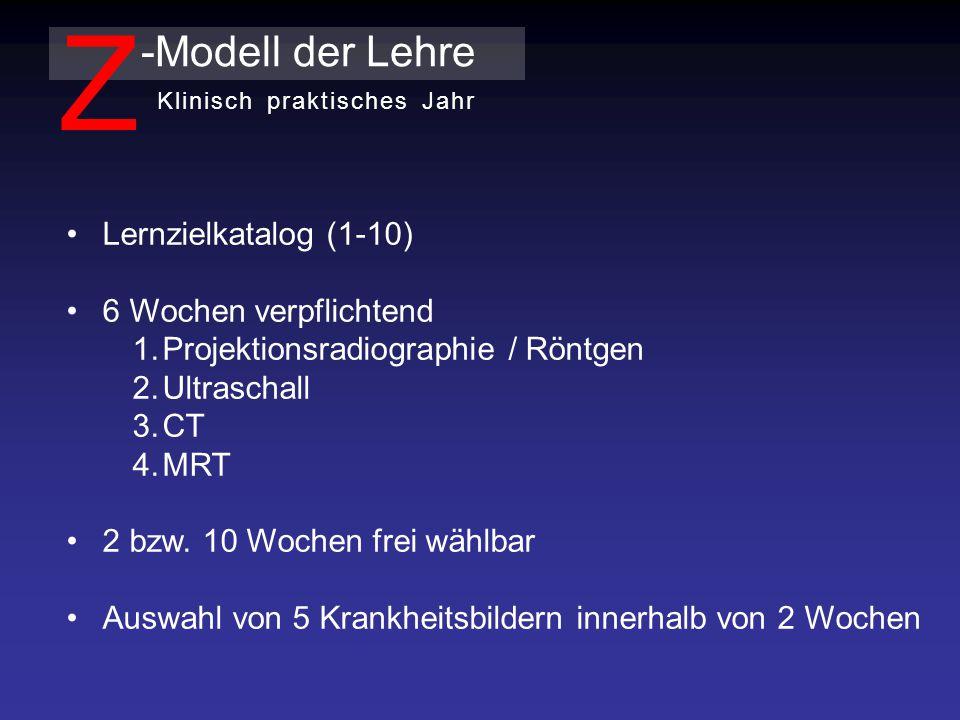 Lernzielkatalog (1-10) 6 Wochen verpflichtend 1.Projektionsradiographie / Röntgen 2.Ultraschall 3.CT 4.MRT 2 bzw.