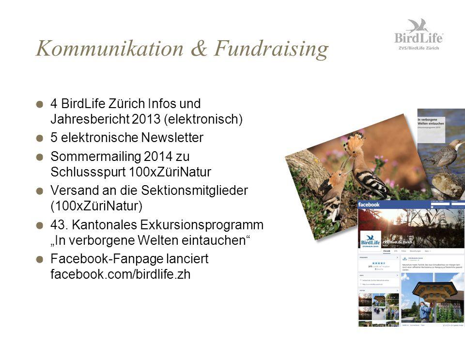 Kommunikation & Fundraising 4 BirdLife Zürich Infos und Jahresbericht 2013 (elektronisch) 5 elektronische Newsletter Sommermailing 2014 zu Schlussspurt 100xZüriNatur Versand an die Sektionsmitglieder (100xZüriNatur) 43.
